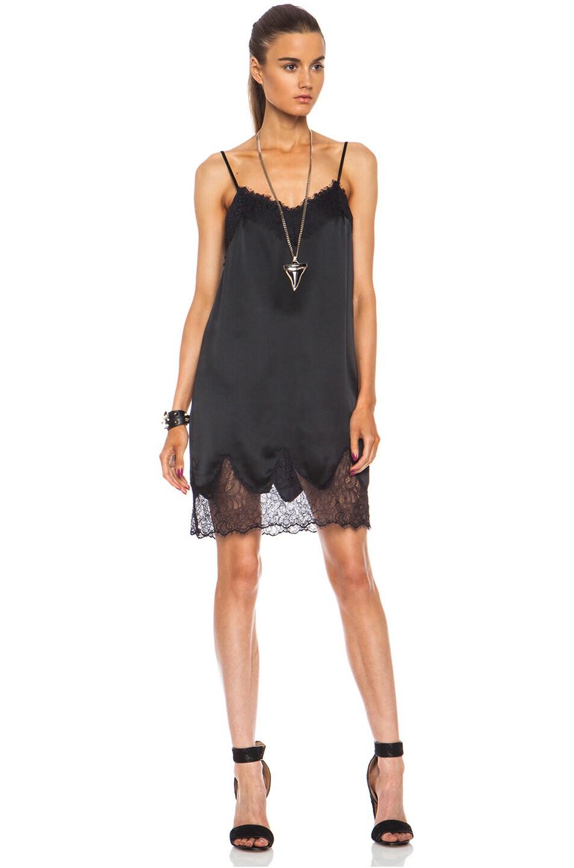 8f5539e3495bb Image 1 of Haute Hippie Lace and Charm Silk Slip Night Dress in Black