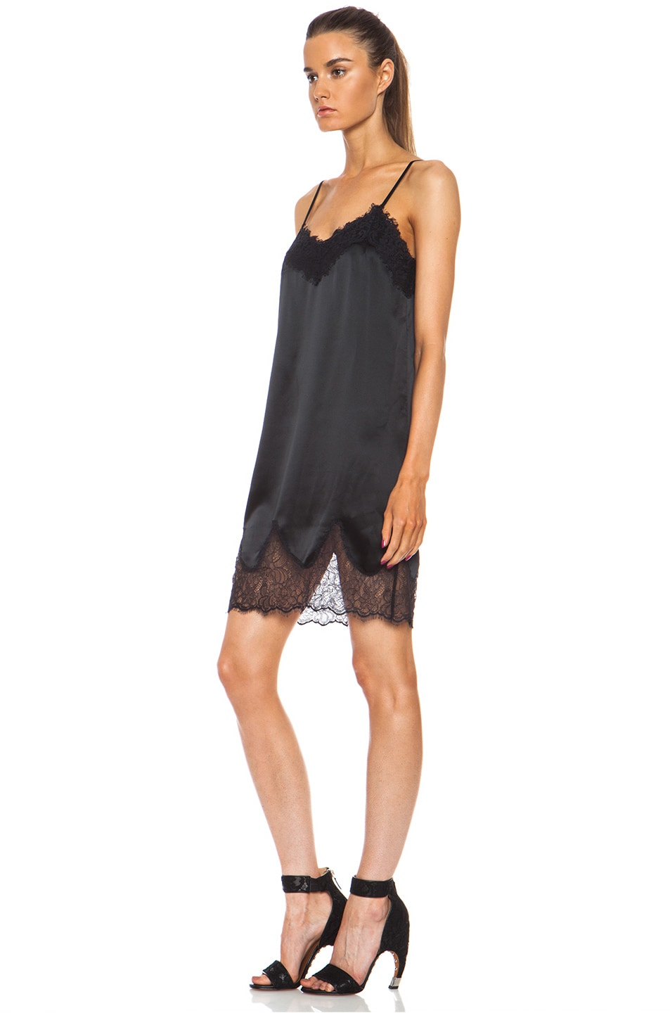 7aaf344719bfd Image 2 of Haute Hippie Lace and Charm Silk Slip Night Dress in Black