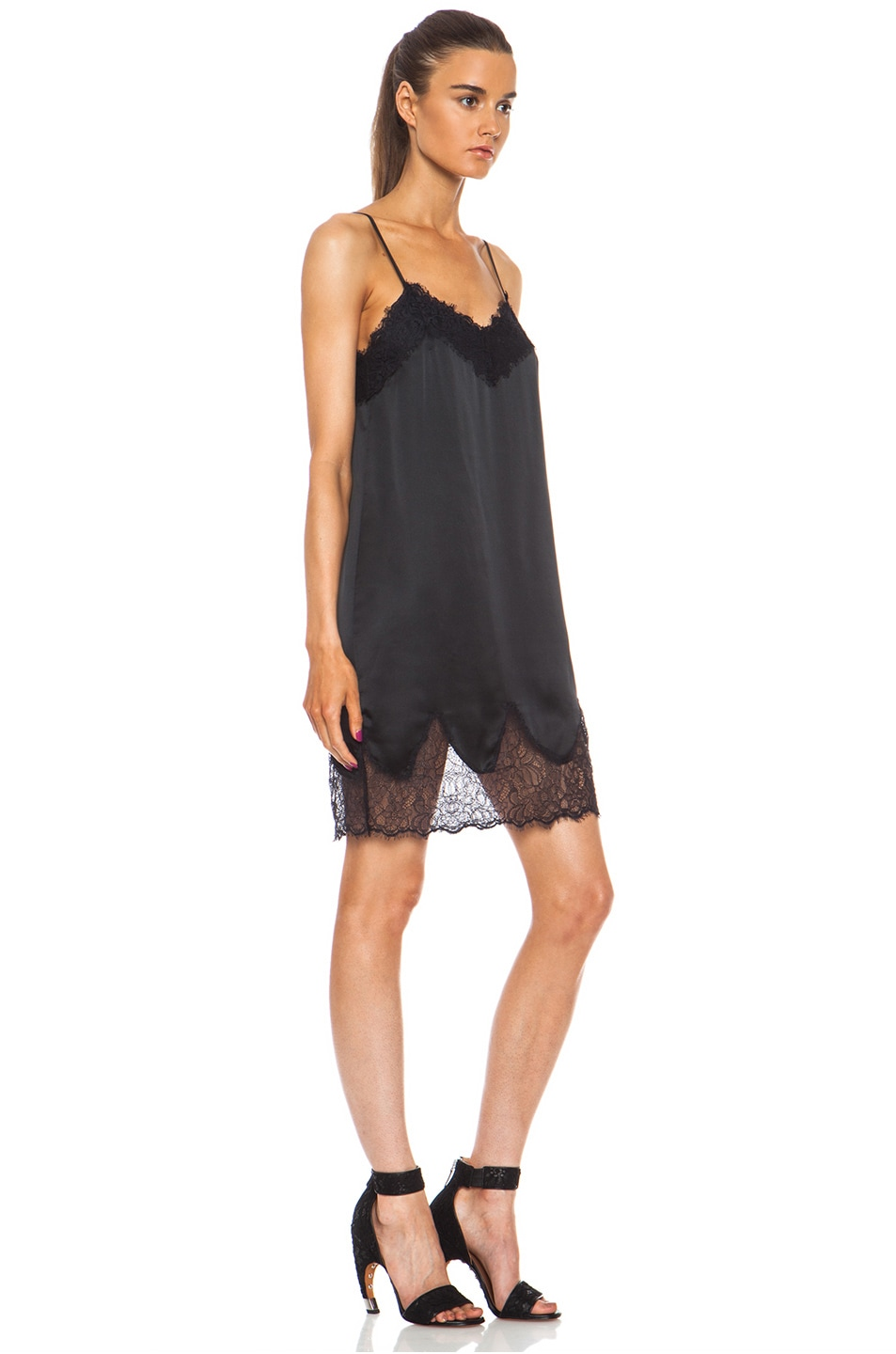 a1ed83c3e977a Image 3 of Haute Hippie Lace and Charm Silk Slip Night Dress in Black
