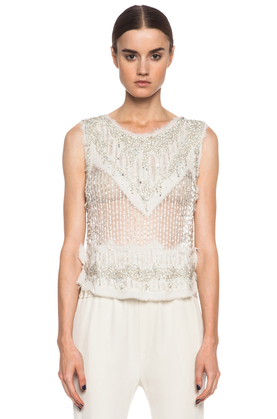 Image 1 of Haute Hippie Torn Chiffon Crapin in Swan & Crystal