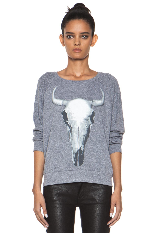 Image 1 of Haute Hippie Longhorn Skull Sweatshirt in Light Heather Grey