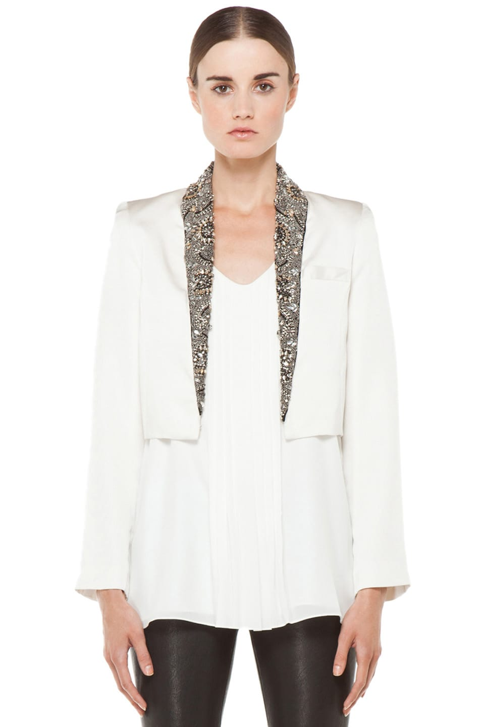 Image 1 of Haute Hippie Cropped Embellished Blazer in Antique Ivory