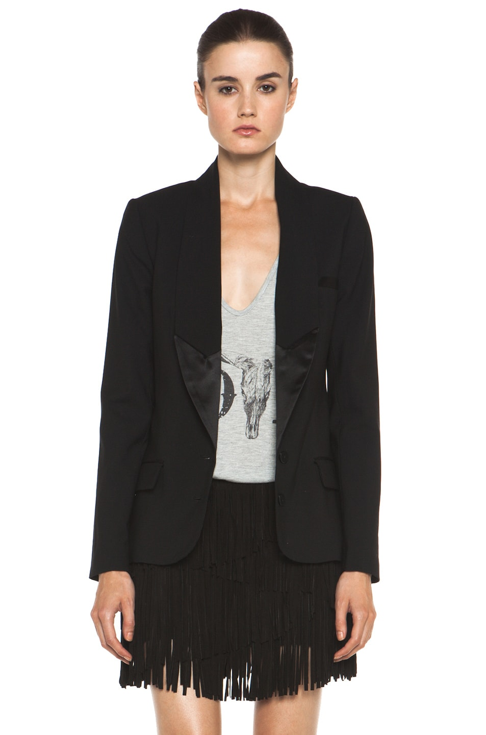 Image 1 of Haute Hippie The Perfect Sexy Tuxedo Blazer in Black