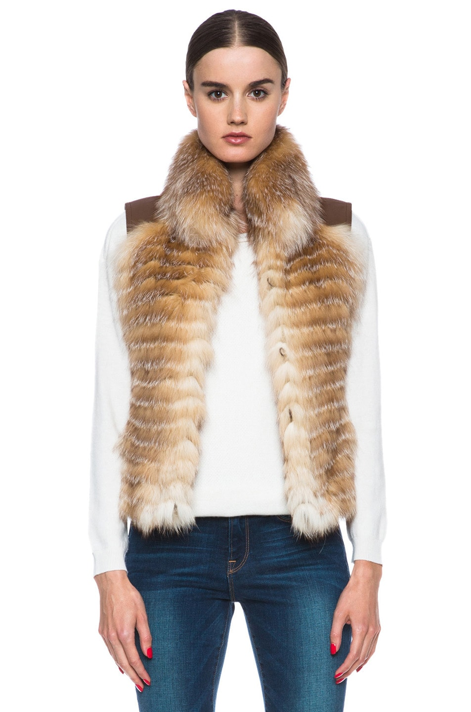 Image 1 of Haute Hippie Feathered Fox Vest in Crystal Fox & Luggage