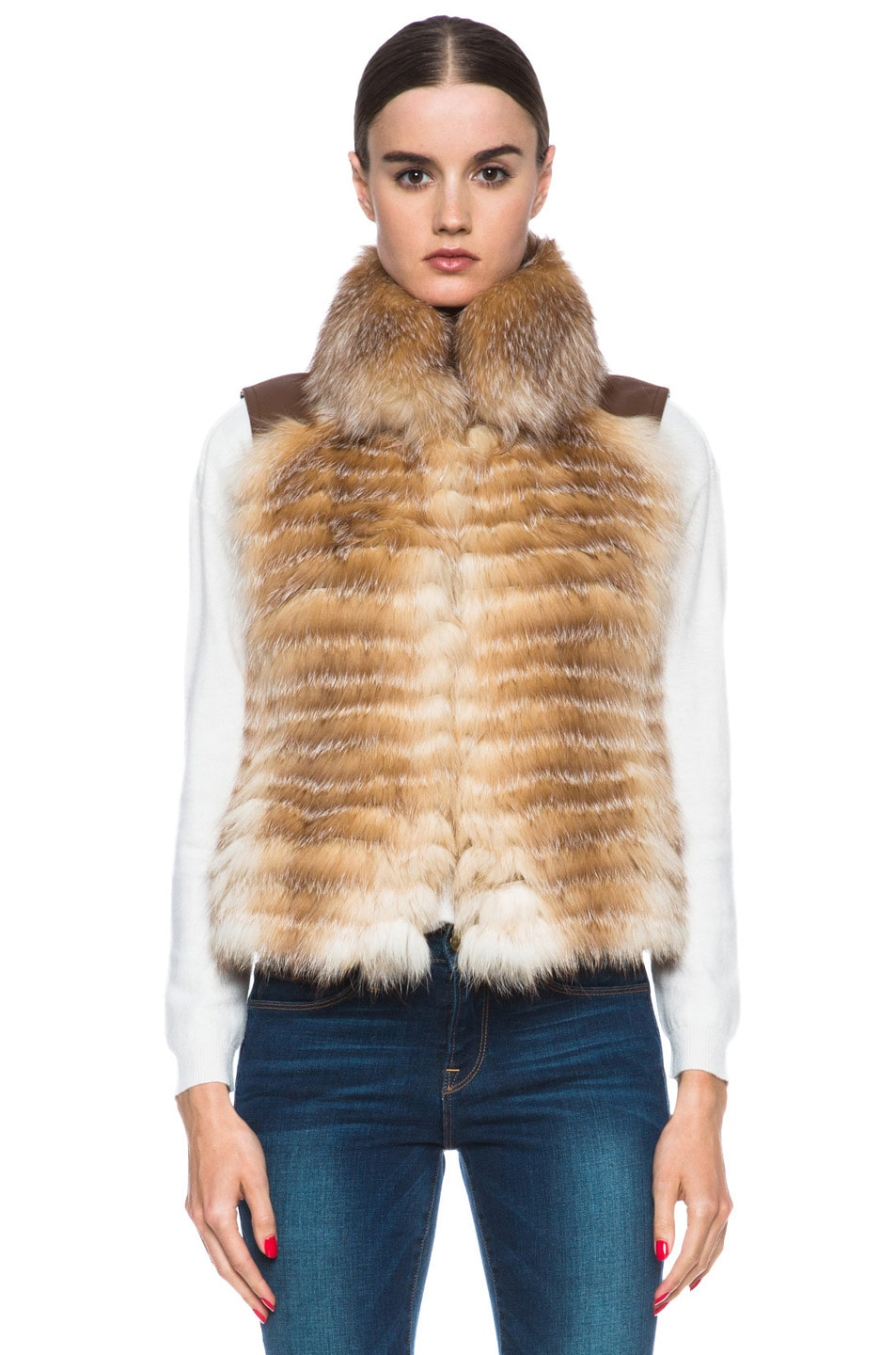Image 2 of Haute Hippie Feathered Fox Vest in Crystal Fox & Luggage