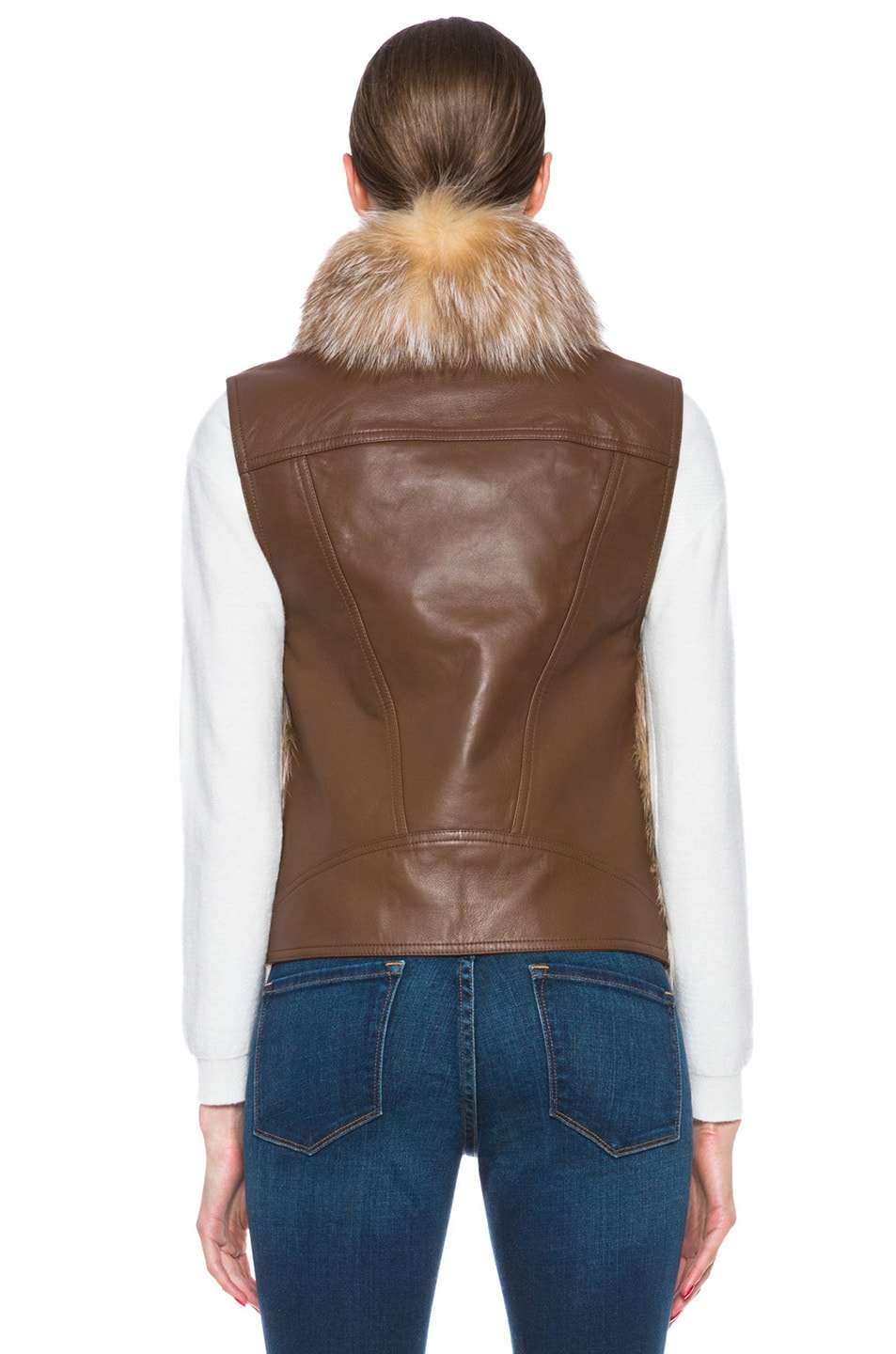 Image 5 of Haute Hippie Feathered Fox Vest in Crystal Fox & Luggage