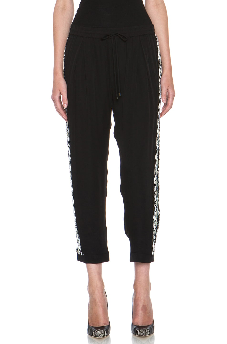 Image 1 of Haute Hippie Trouser with Embellished Tux Stripe in Black & White