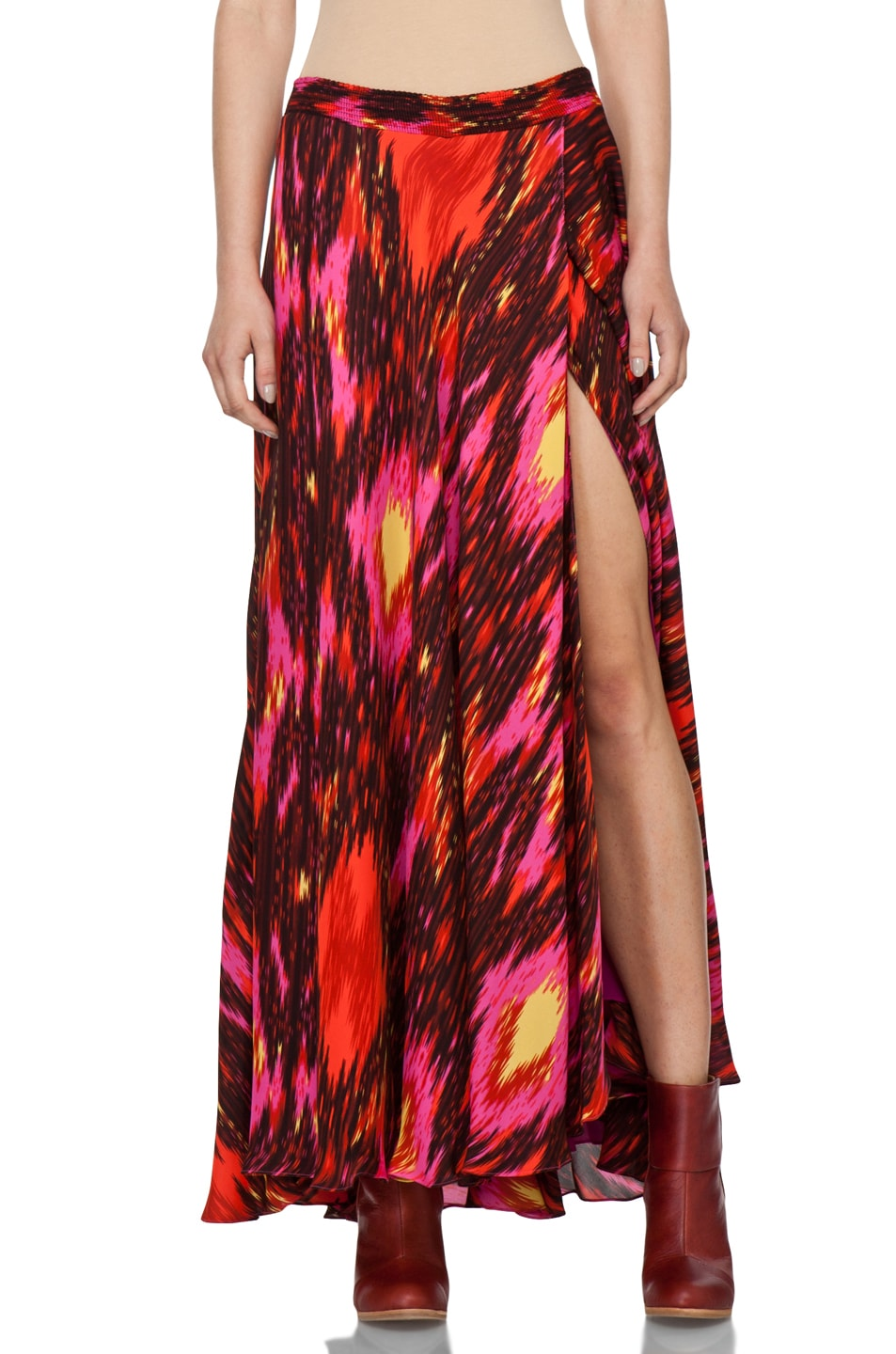 Image 1 of Haute Hippie Ikat Cinched Waist Skirt in Multi