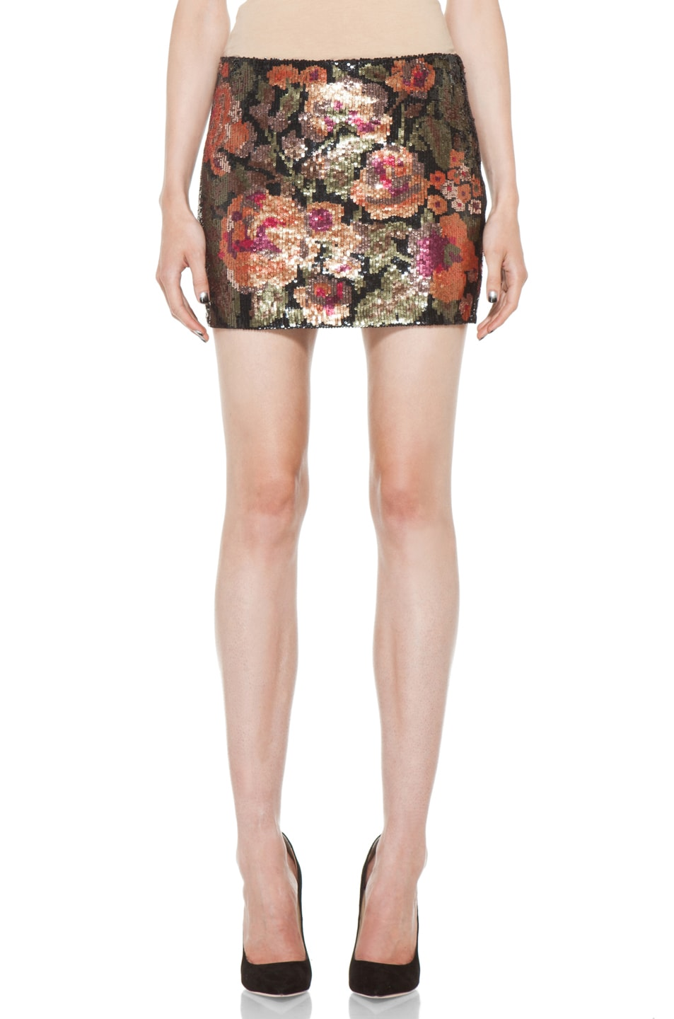 Image 1 of Haute Hippie Floral Sequin Mini Skirt in Multi