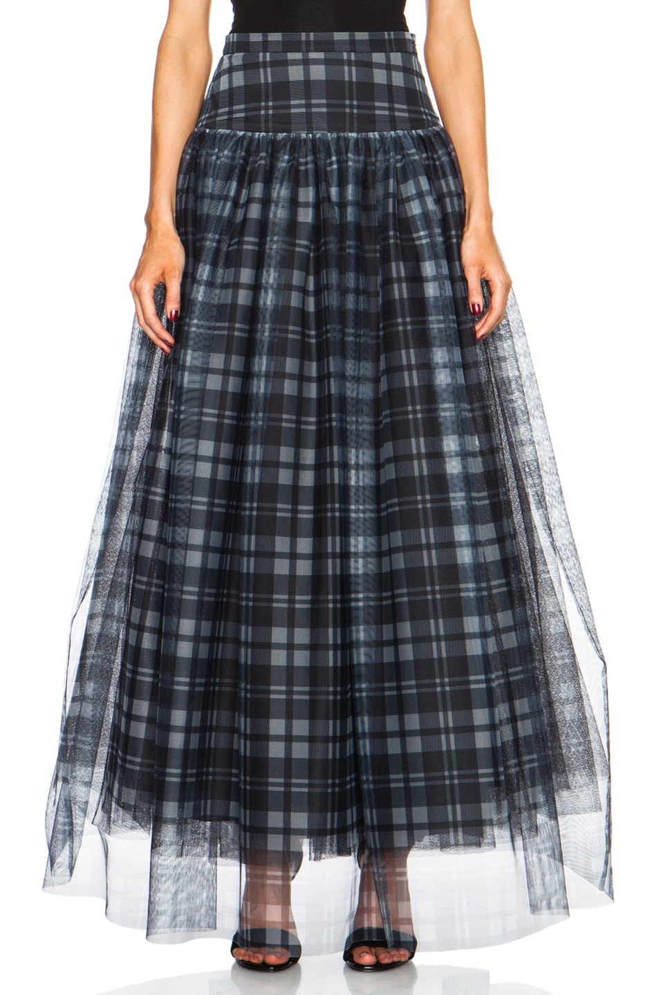 Image 1 of Haute Hippie Plaid Mesh and Crinoline Poly Skirt in Black & Swan