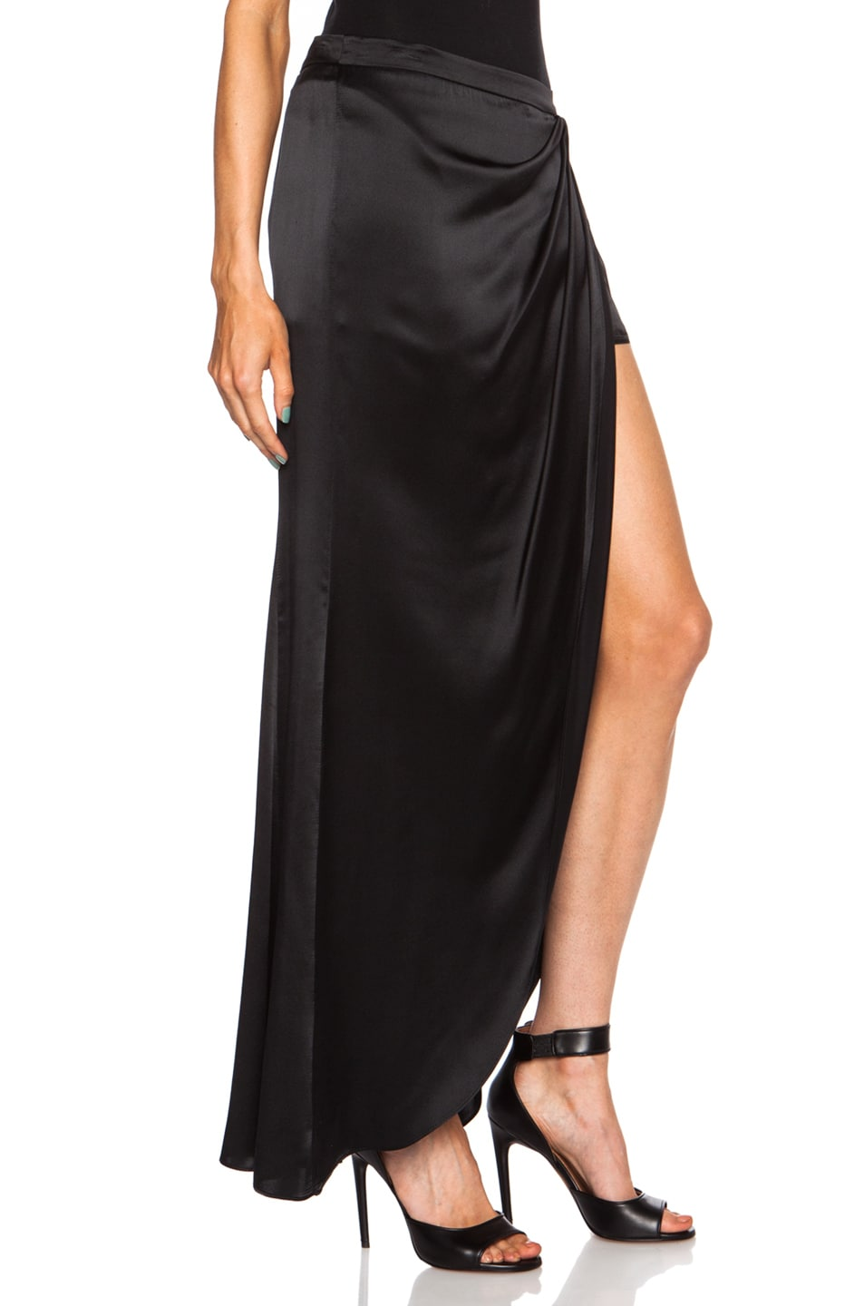 Haute Hippie Flowy Silk Maxi Skirt in Black | FWRD