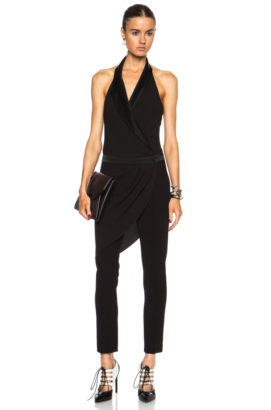 Image 1 of Haute Hippie Crossover Overlay Triacetate-Blend Jumpsuit in Black