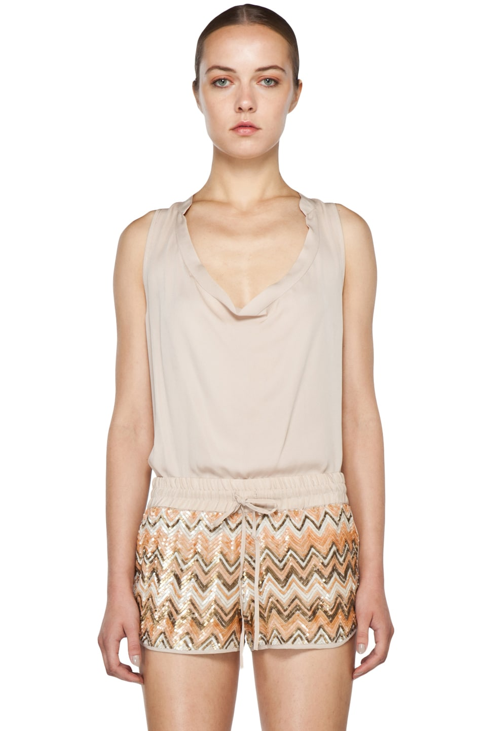 Image 1 of Haute Hippie Cowl Tank in Buff