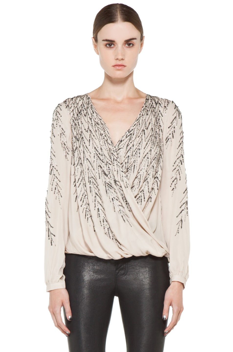 Image 1 of Haute Hippie Feather Embellishment Blouse in Sheer