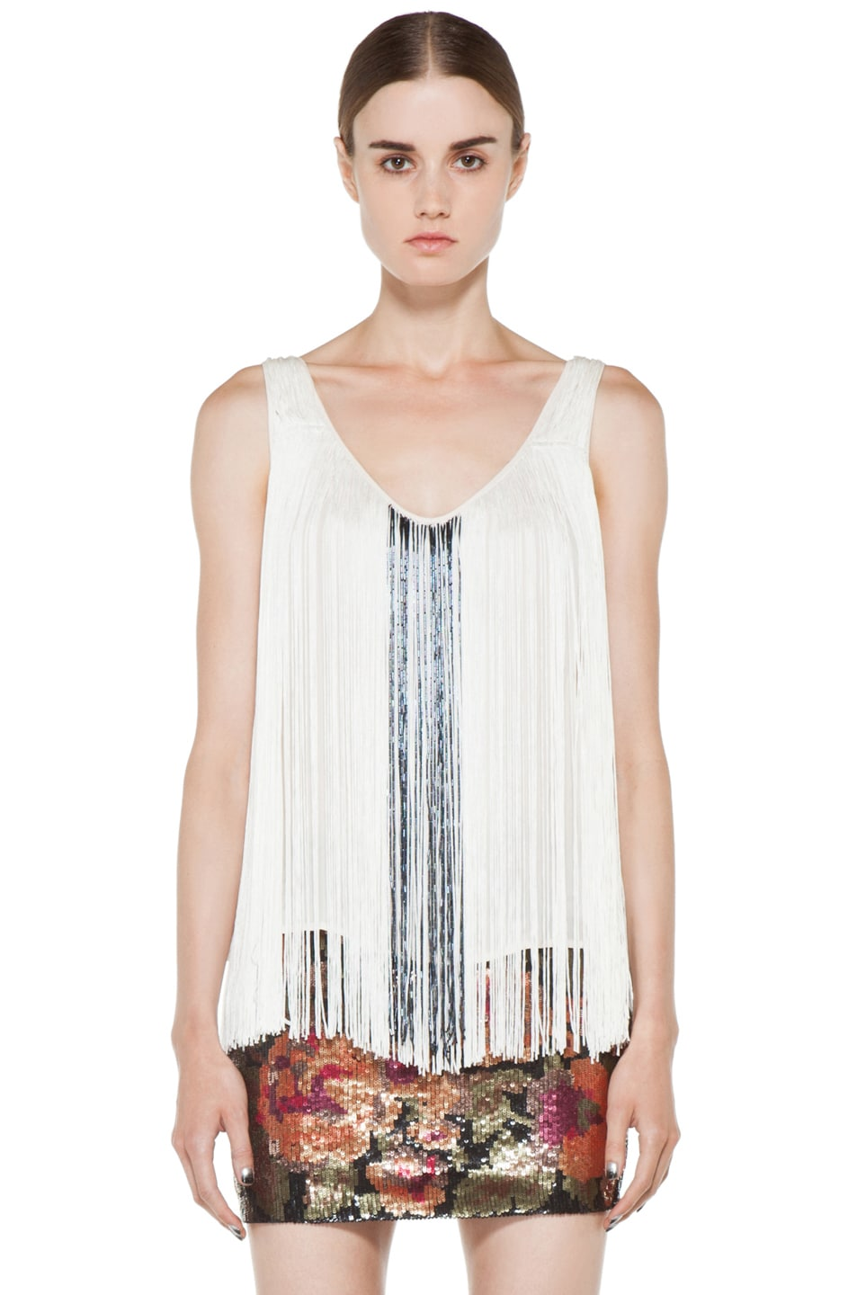 Image 1 of Haute Hippie Fringe and Bugle Tank in Swan