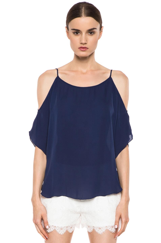 Image 1 of Haute Hippie Open Shoulder Blouse in Sapphire