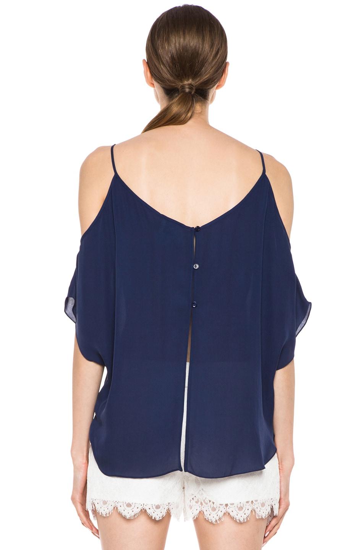 Image 4 of Haute Hippie Open Shoulder Blouse in Sapphire