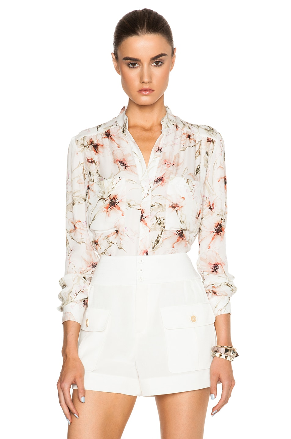 Image 1 of Haute Hippie Drapey Button Down Blouse in Swan Multi