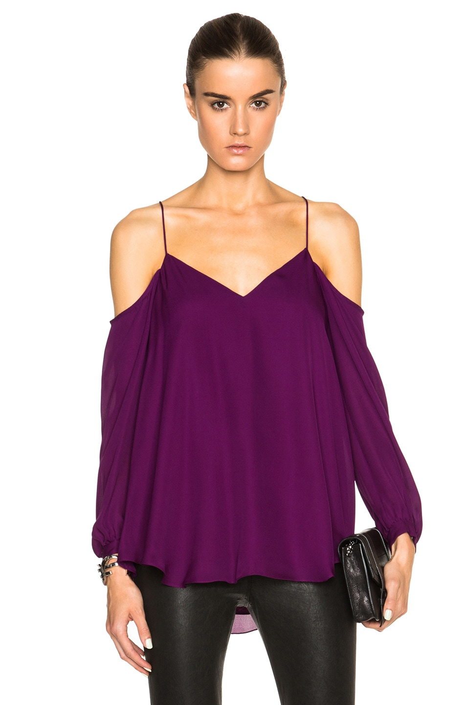 Image 1 of Haute Hippie Cold Shoulder Top in Wineberry