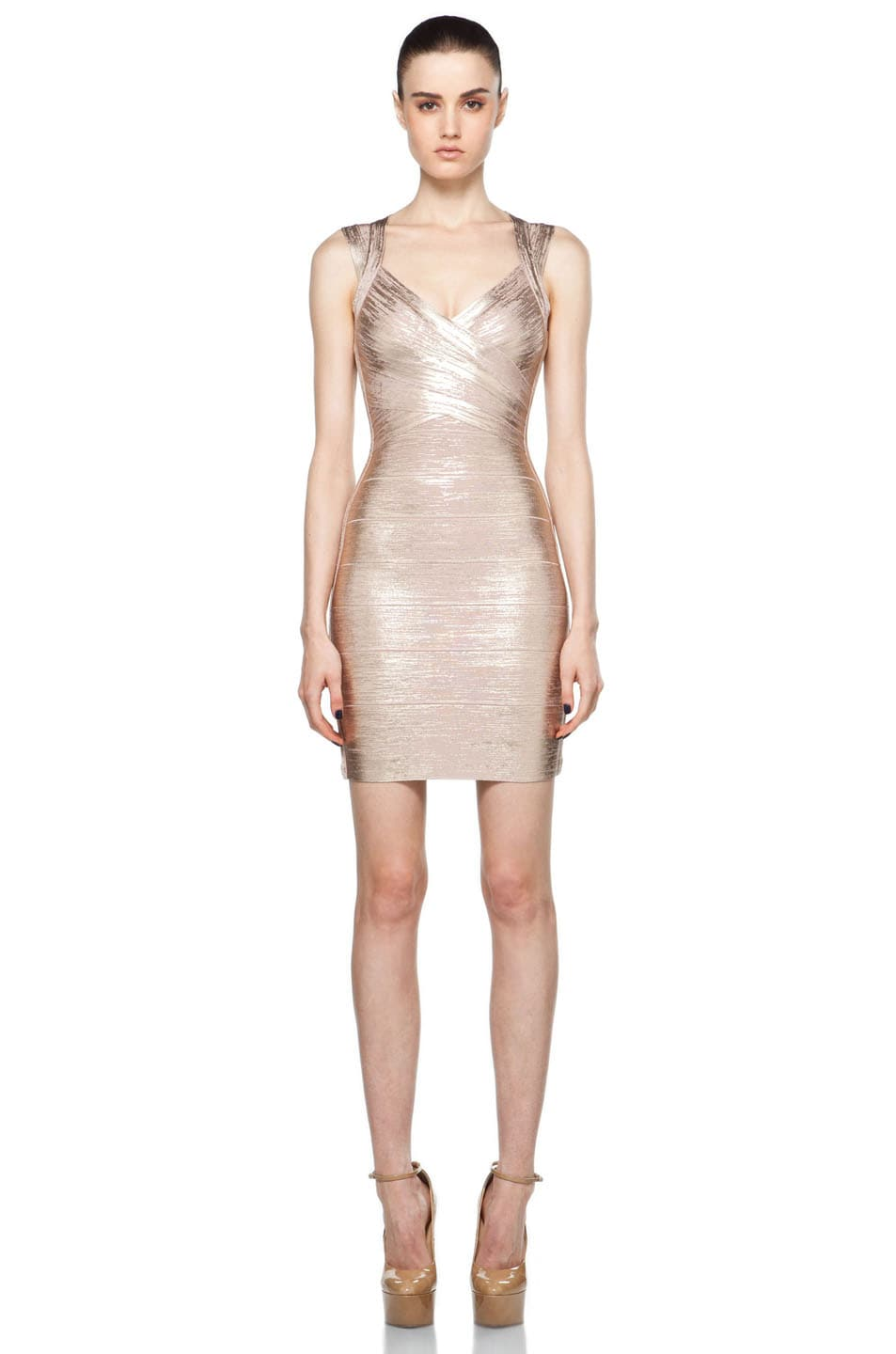 Image 1 of Herve Leger Mid Thigh Dress in Rose Gold
