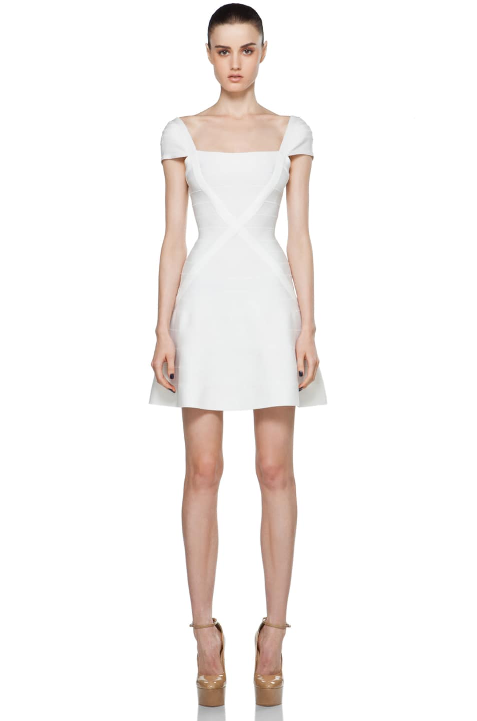 Image 1 of Herve Leger Cap Sleeve Bodycon Dress in Alabaster
