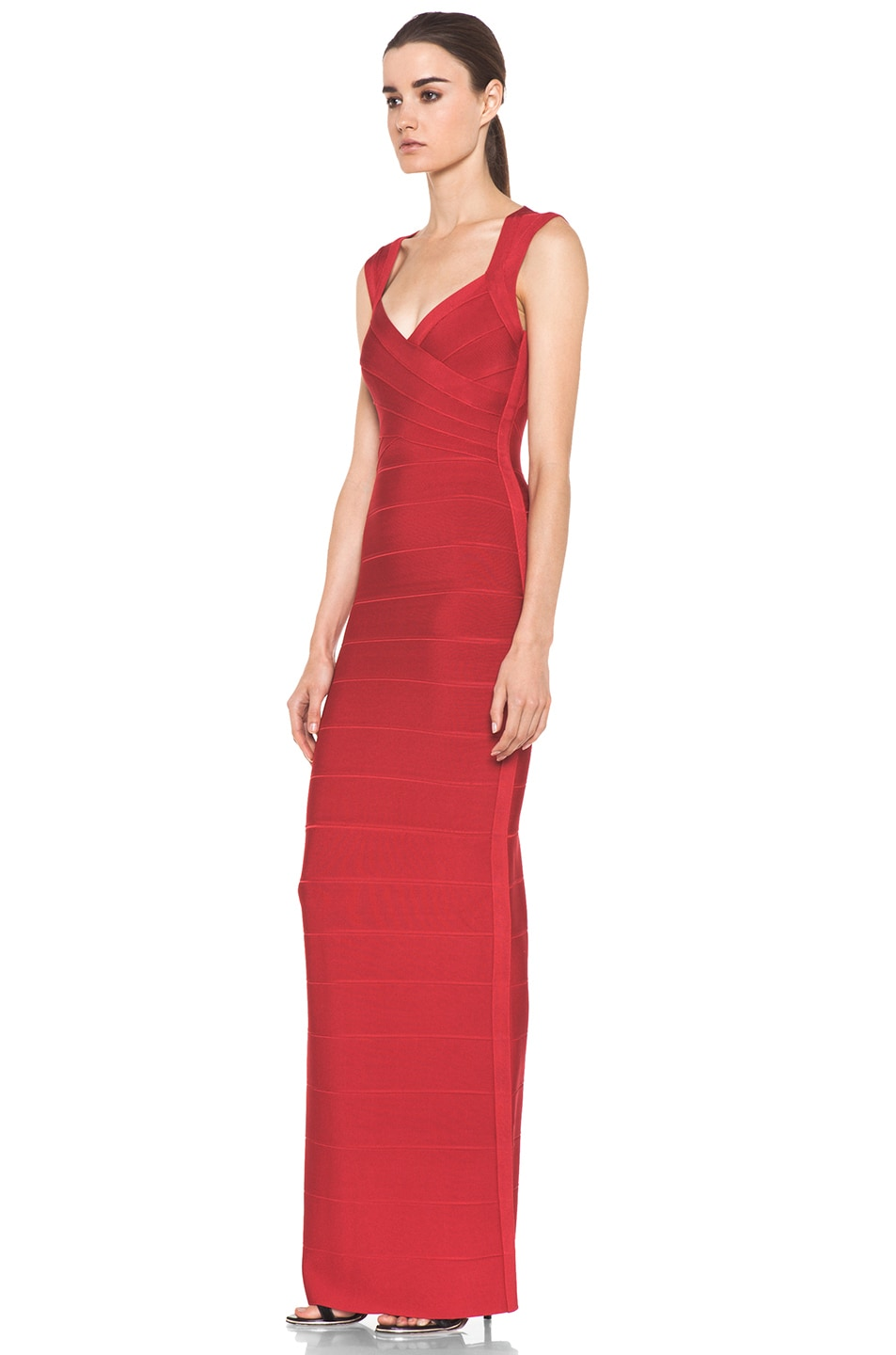 Herve Leger Gown in Red   FWRD