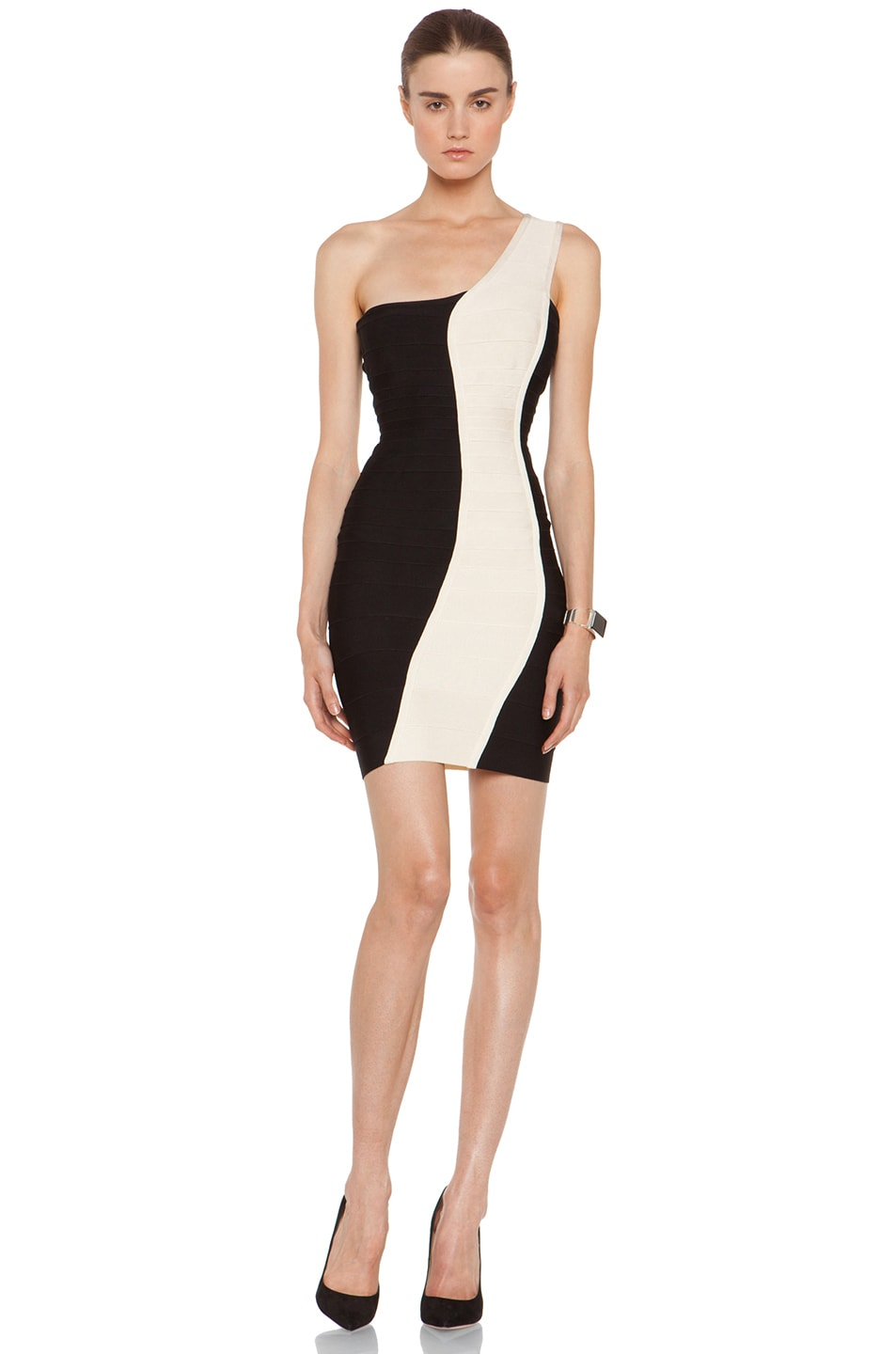 Image 1 of Herve Leger One Shoulder Mid Thigh Color Panel Dress in Black Combo