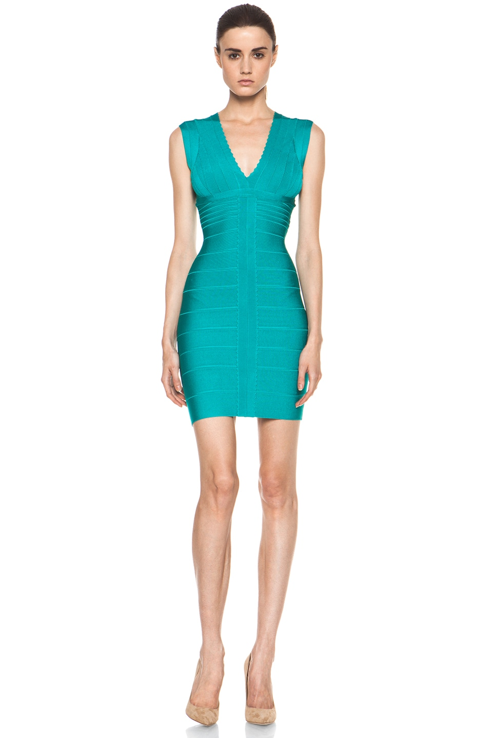 Image 1 of Herve Leger V Neck Mid Thigh Dress in Bright Blue Surf