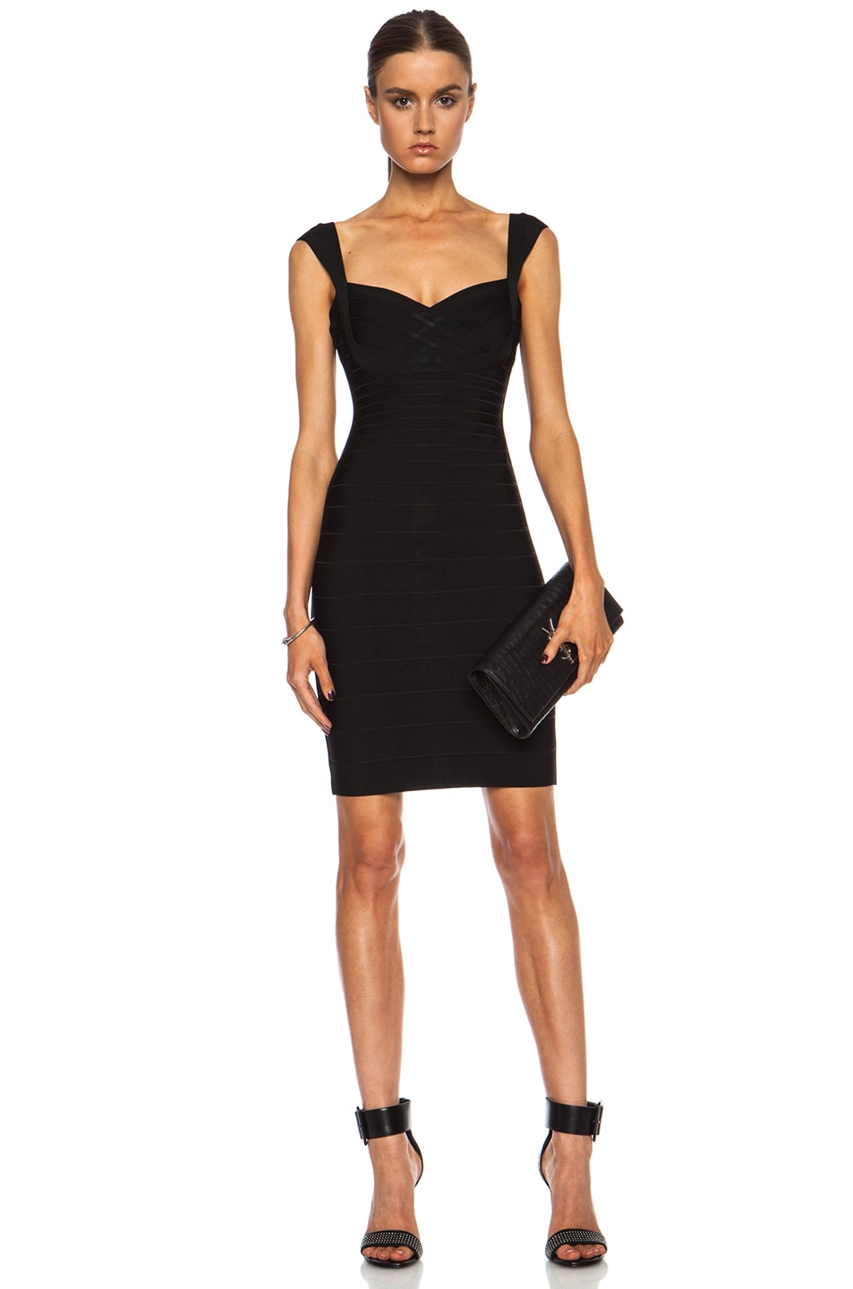 Image 1 of Herve Leger Bandage Mini Rayon-Blend Dress in Black