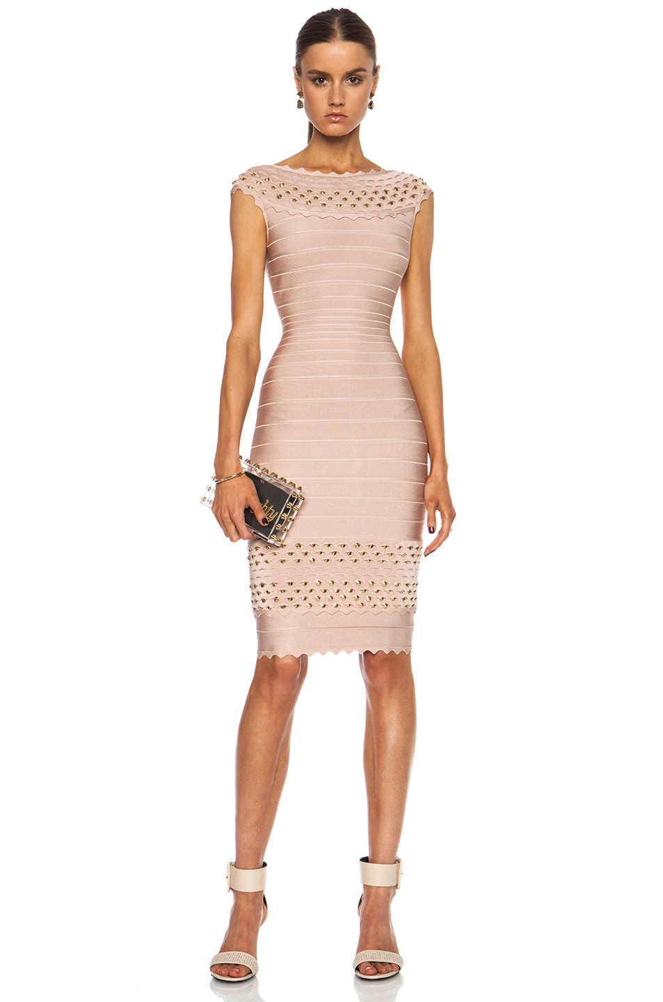 Image 1 of Herve Leger Studded Bandage Off The Shoulder Rayon-Blend Dress in Bare