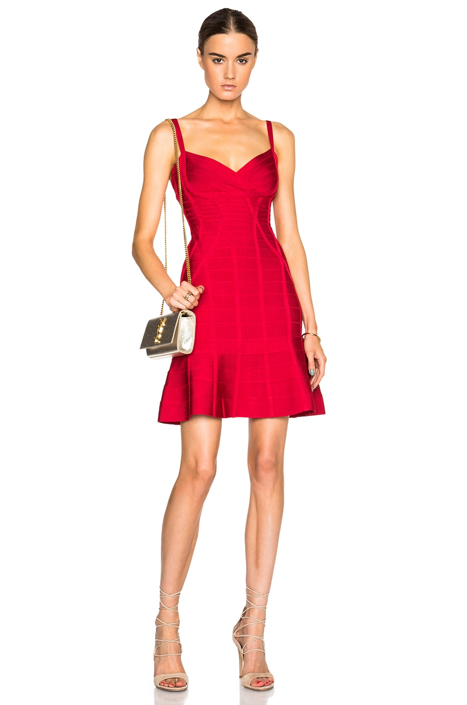 Image 1 Of Herve Leger Fit Flare Dress In Lipstick Red