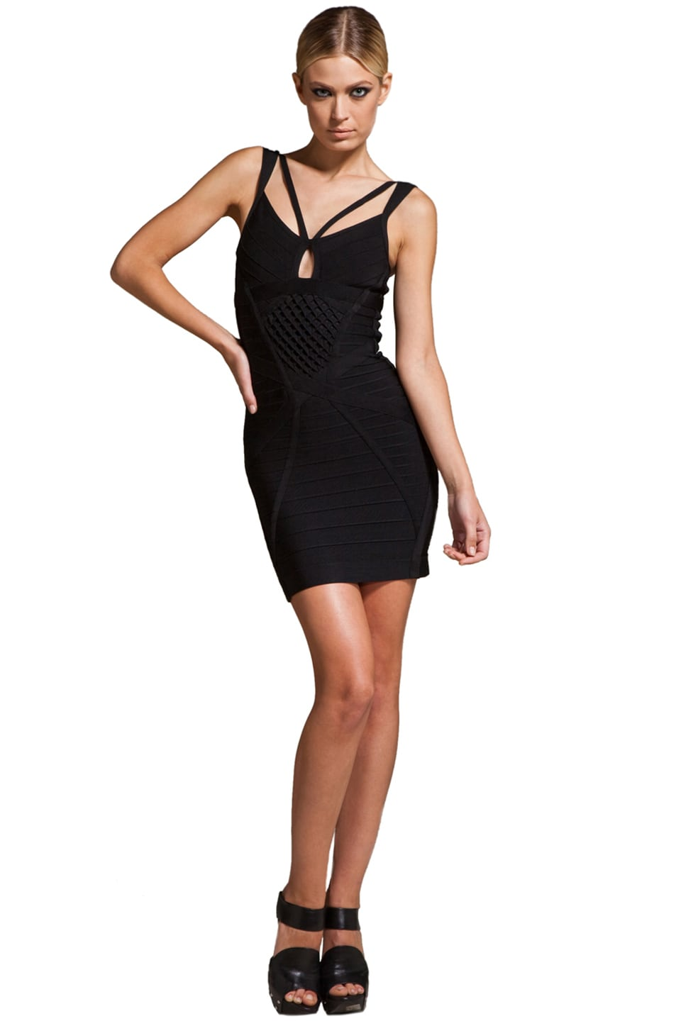 7ee8acfc64d Image 1 of Herve Leger Cut Out Dress in Black