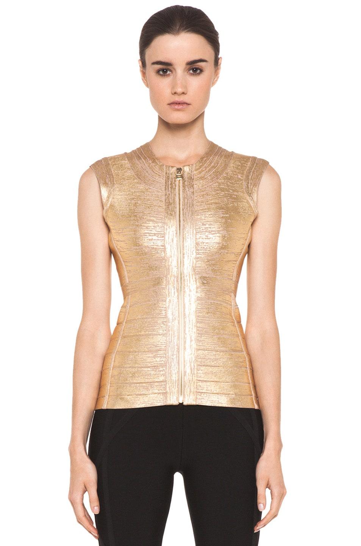 Image 1 of Herve Leger Foil Vest in Gold