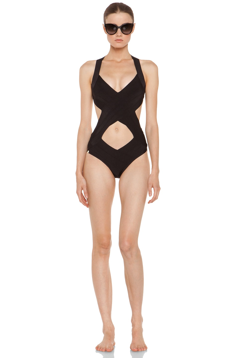 e9cd7ece4b1a2 Image 5 of Herve Leger Criss Cross One Piece Swimsuit in Black