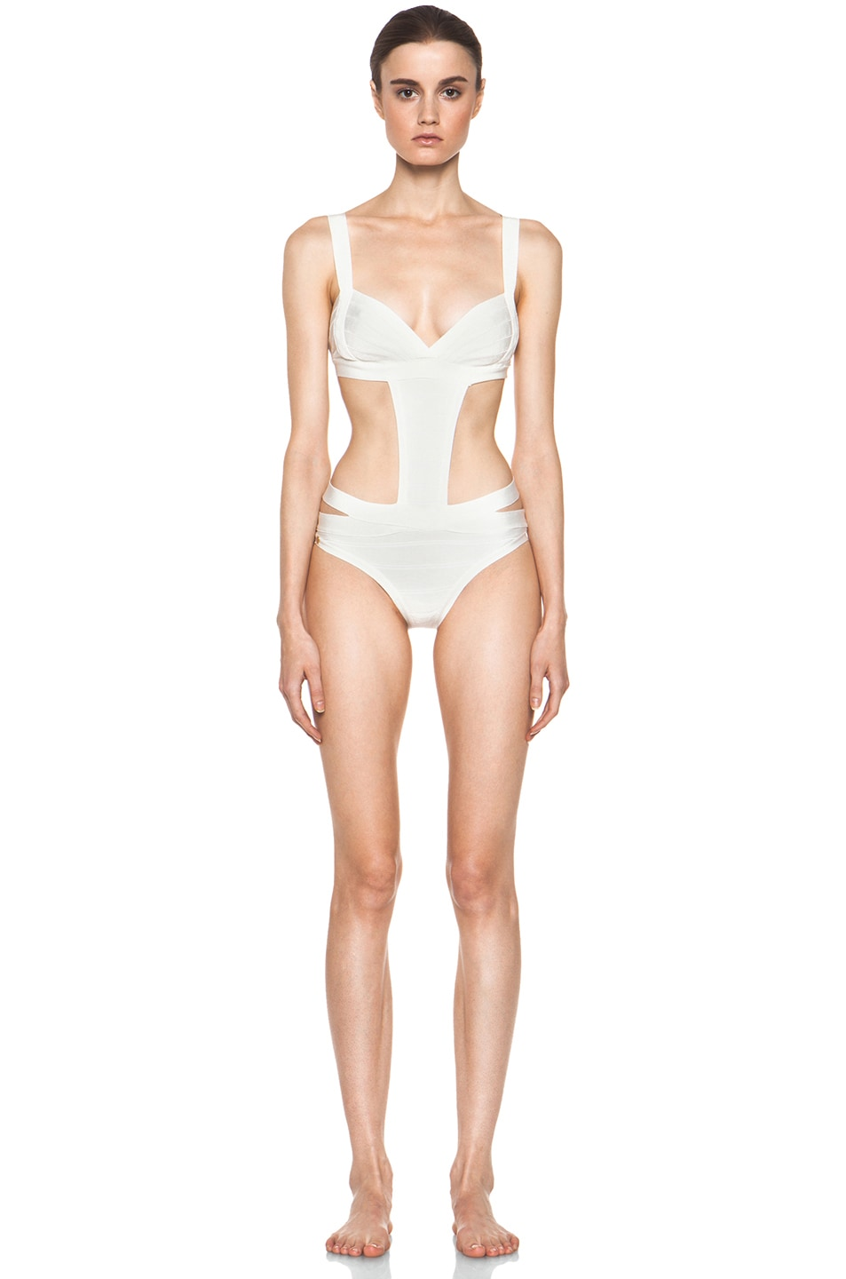 Image 1 of Herve Leger Side Cut Out One Piece Swimsuit in Alablaster
