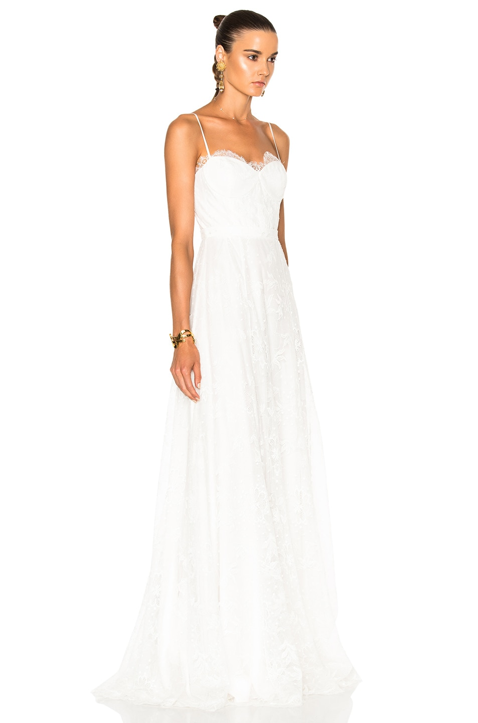 Houghton Katie Lace Slip Dress with Handkerchief Hem in Ivory | FWRD