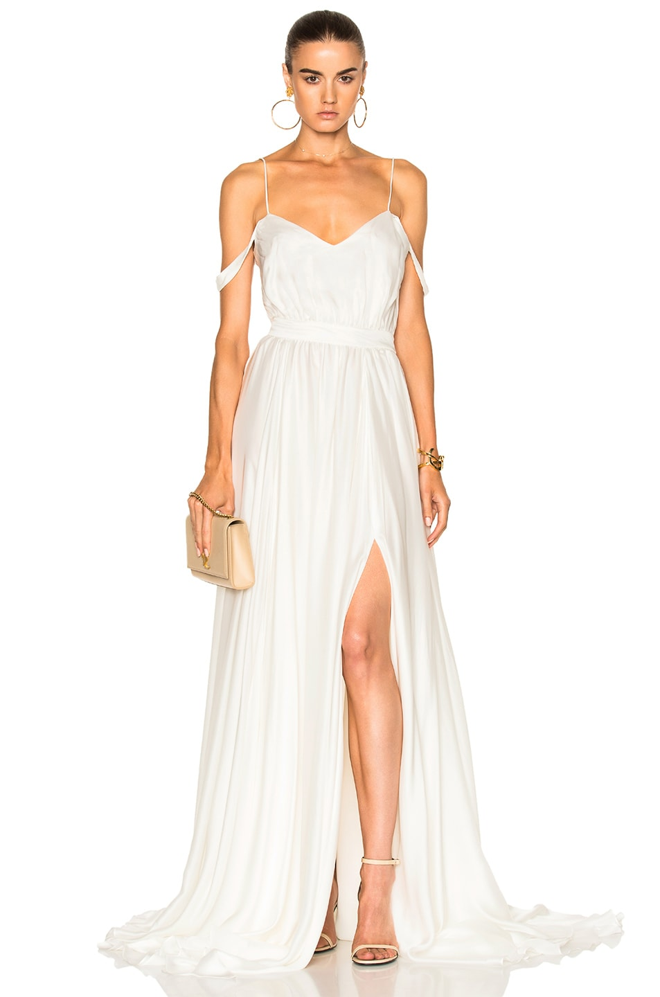 Houghton Morgan V Neck Empire Gown in Ivory | FWRD