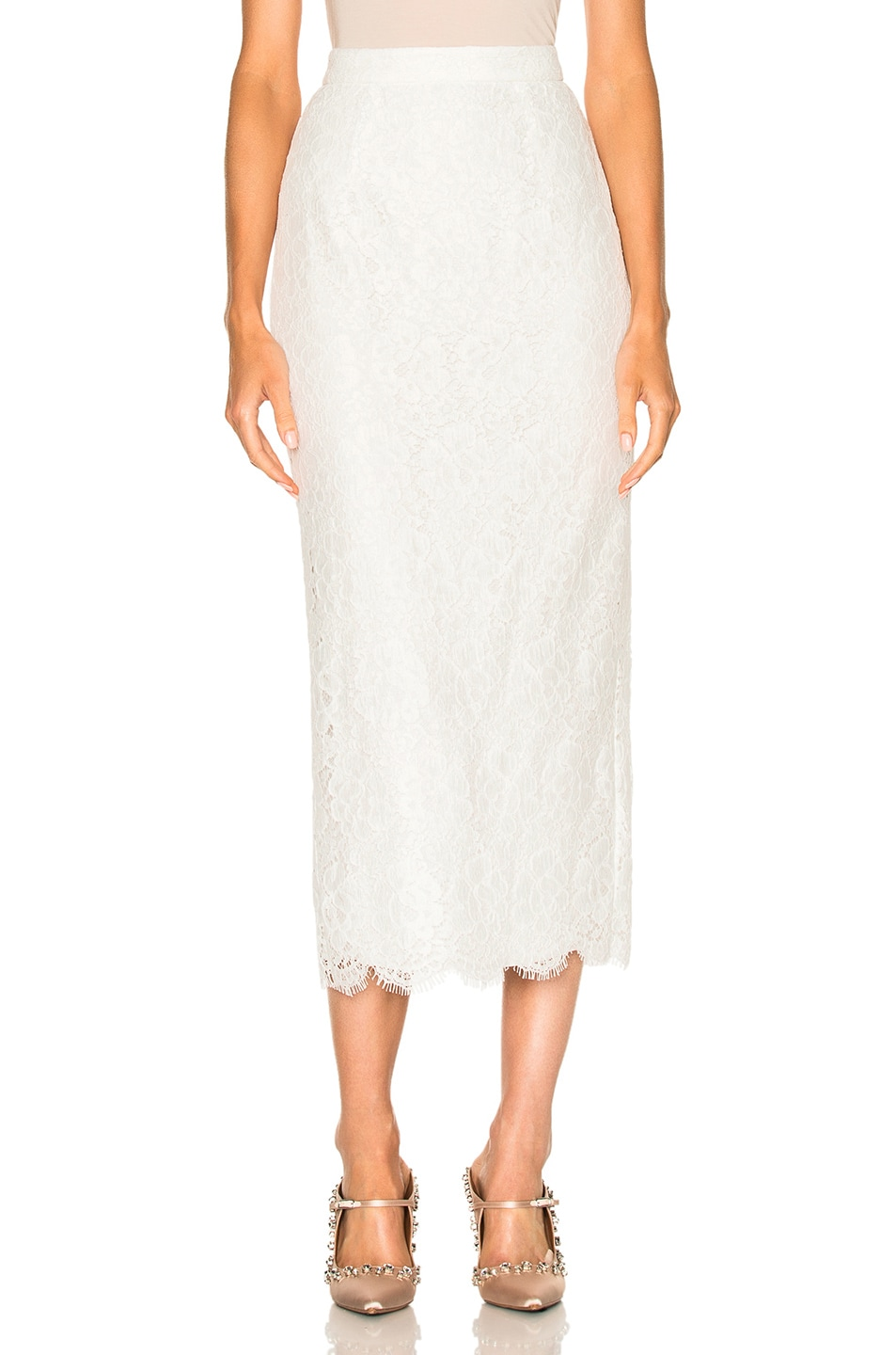 Image 1 of Houghton Gwenever Guipure Lace Skirt in White