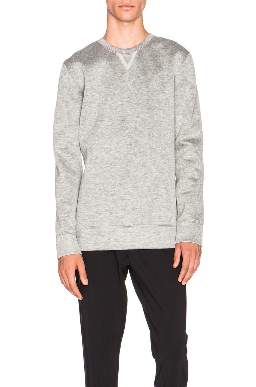 cdfa1dc978e0f Image 1 of Helmut Lang Sponge Fleece Tape Detail Crewneck Sweatshirt in Grey