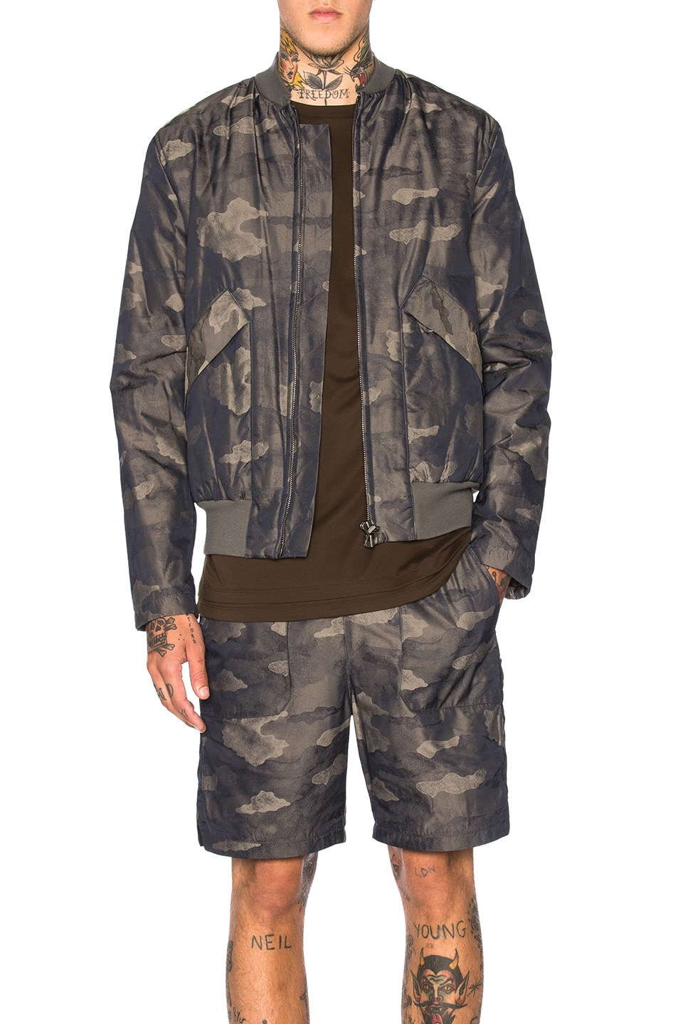 Image 1 of Helmut Lang Jacquard Camo Zip Bomber in Olive Slate Multi