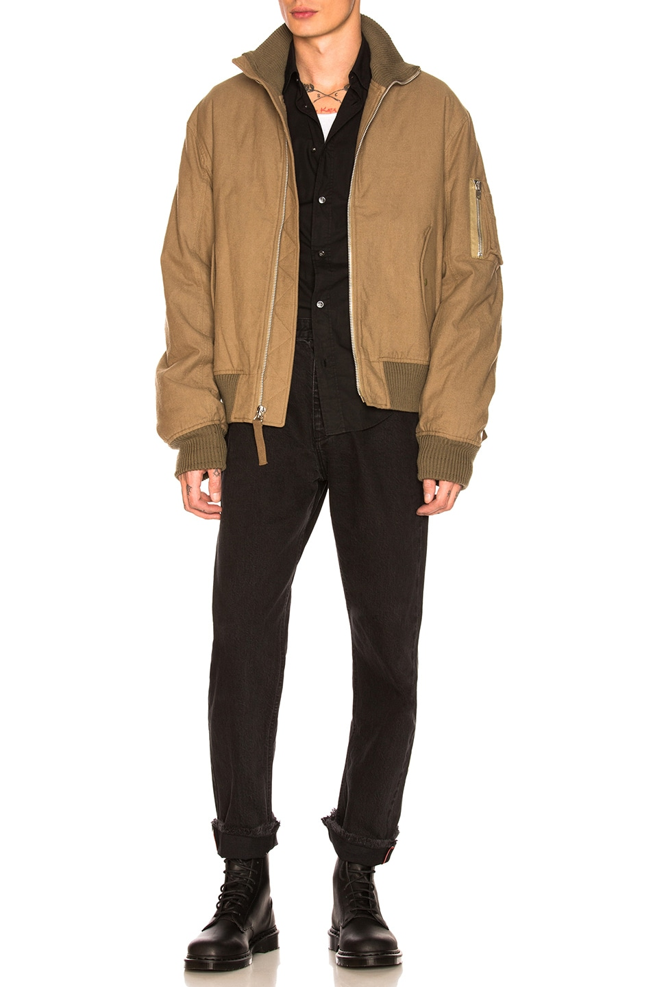 76db0965e8a3 Image 1 of Helmut Lang Re-Edition High Collar Bomber in Army Green