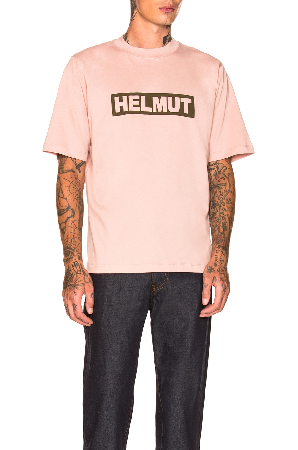 Image 1 of Helmut Lang Logo Tall Tee in Desert Rose