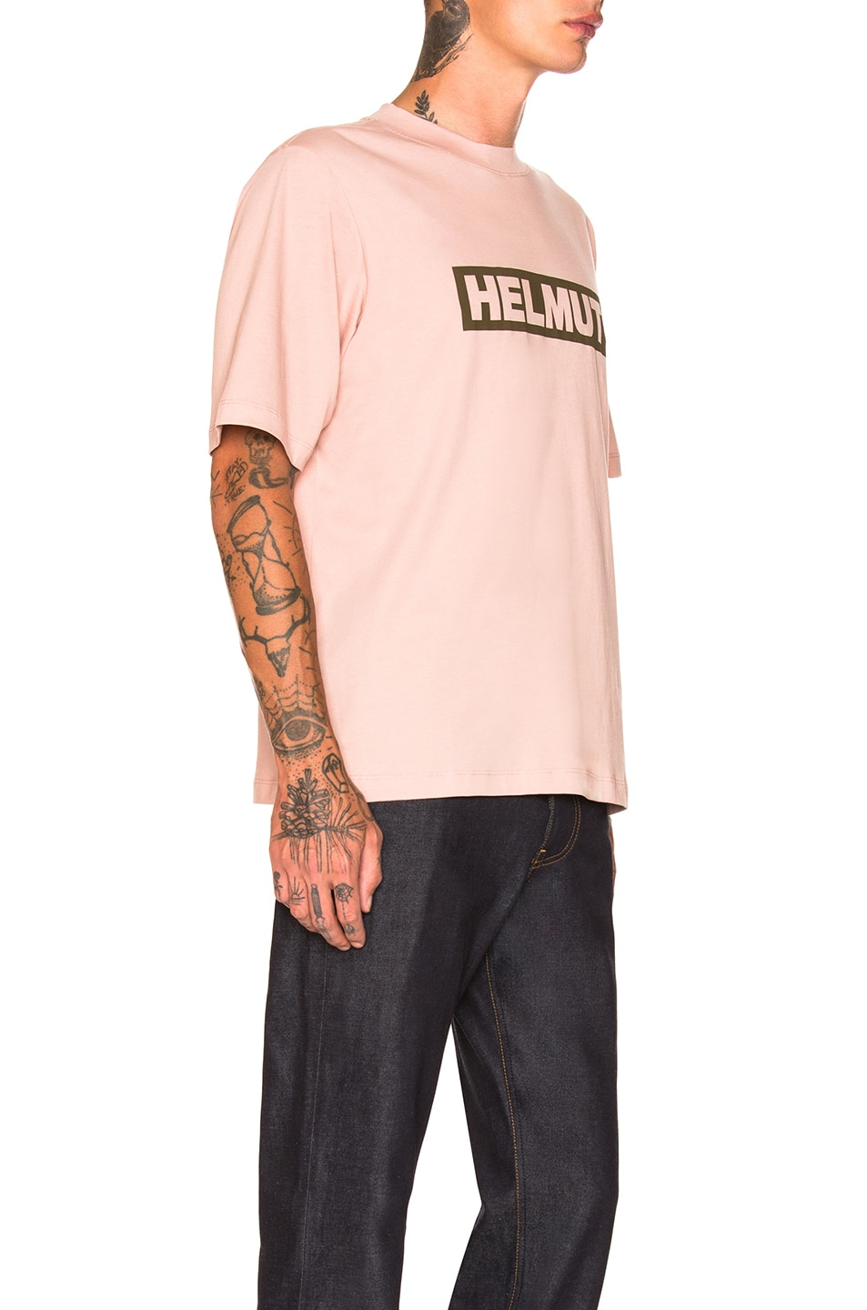 Image 2 of Helmut Lang Logo Tall Tee in Desert Rose