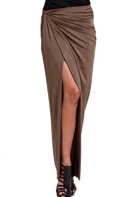 Image 1 of Helmut Lang Slit Skirt in Barren