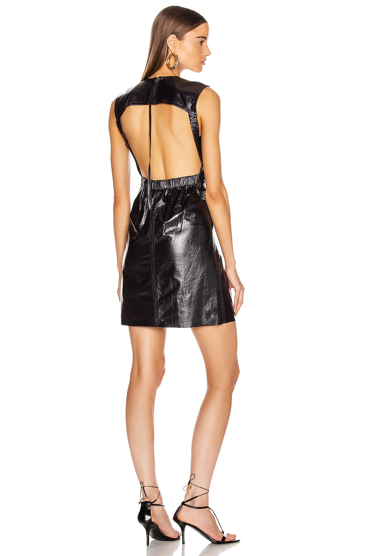 Image 1 of Helmut Lang Open Back Leather Dress in Ink