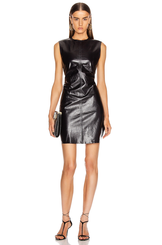 Image 2 of Helmut Lang Open Back Leather Dress in Ink