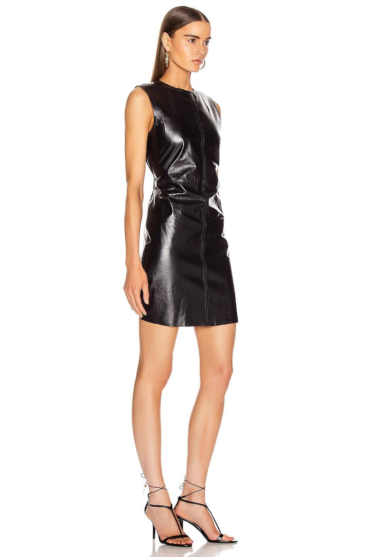 Image 3 of Helmut Lang Open Back Leather Dress in Ink