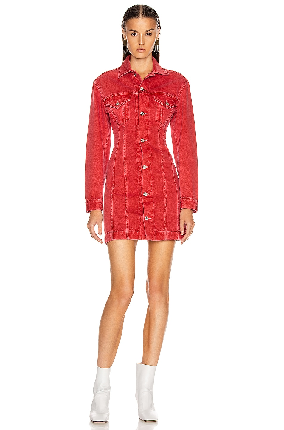 Image 1 of Helmut Lang Femme Trucker Dress in Oxidized Red Stone