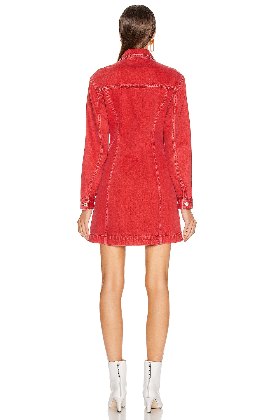 Image 3 of Helmut Lang Femme Trucker Dress in Oxidized Red Stone
