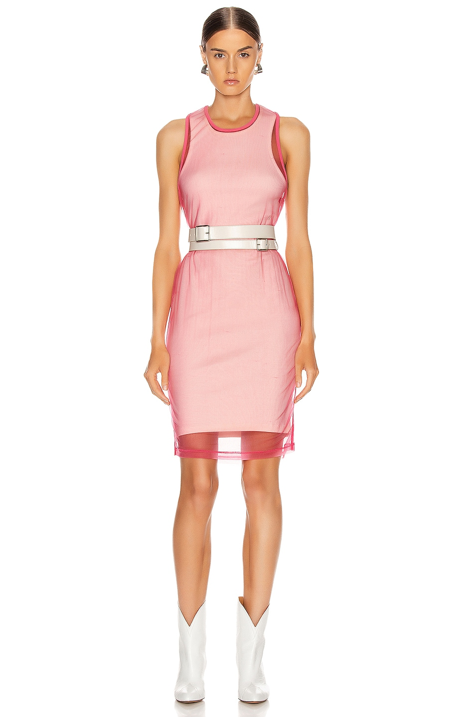 Image 1 of Helmut Lang Masc Tank Dress in Prism Pink